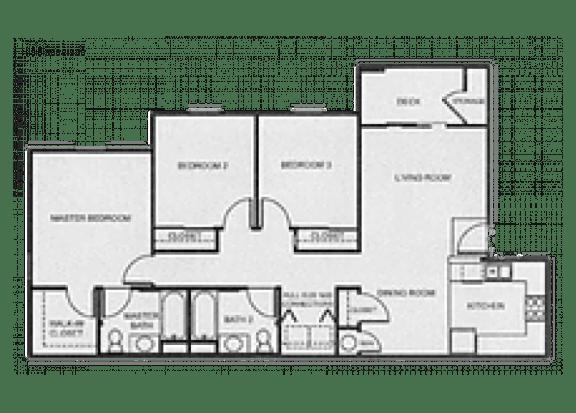 Floor Plan  3x2 Market floor plan at Aspen Ridge Apartments in Albuquerque, NM
