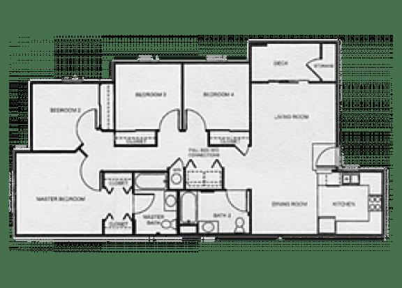 Floor Plan  4x2 Affordable Market floor plan at Aspen Ridge Apartments in Albuquerque, NM