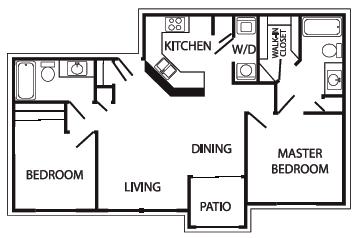 Floor Plan  2 bedroom 2 bathroom at Port Royale Apartments in Sierra Vista, AZ, opens a dialog.
