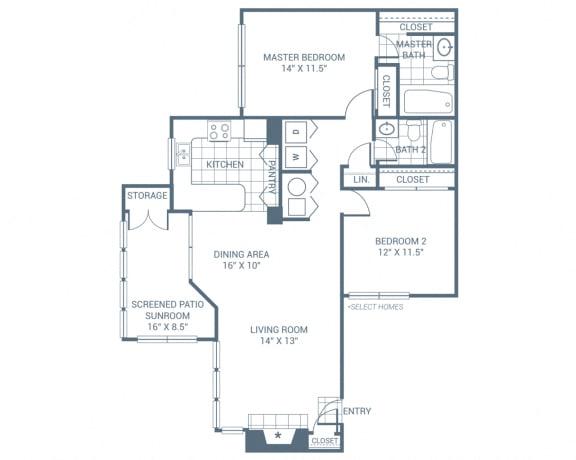 Floor Plan  2 Bedroom 2 Bath 1230 sqft (B1)