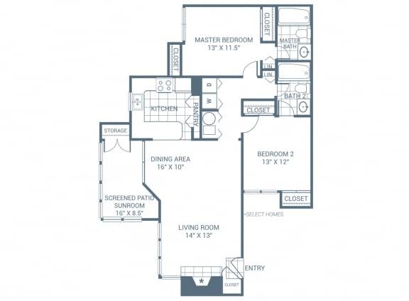 Floor Plan  2 Bedroom 2 Bath 1245 sqft (B2)