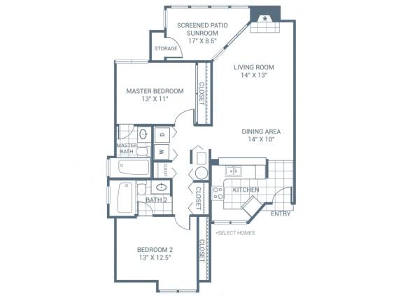 Floor Plan  2 Bedroom 2 Bath 1245 sqft (B3)