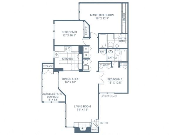 Floor Plan  3 Bedroom 2 Bath 1435 sqft (C1)