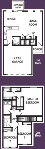 Floor Plan  3 bedroom 2-a-half bathroom floor plan at Coronado Commons & Villas in Sierra Vista, AZ, opens a dialog.