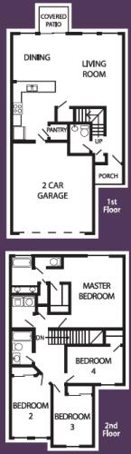 Floor Plan  4 bedroom 2-a-half bathroom floor plan at Coronado Commons & Villas in Sierra Vista, AZ, opens a dialog.