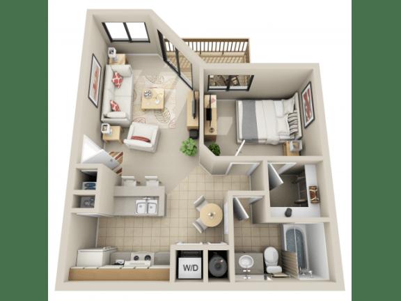 Floor Plan  1 Bedroom, opens a dialog.