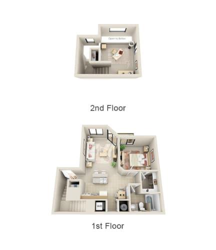 Floor Plan  1 Bed Loft, opens a dialog.