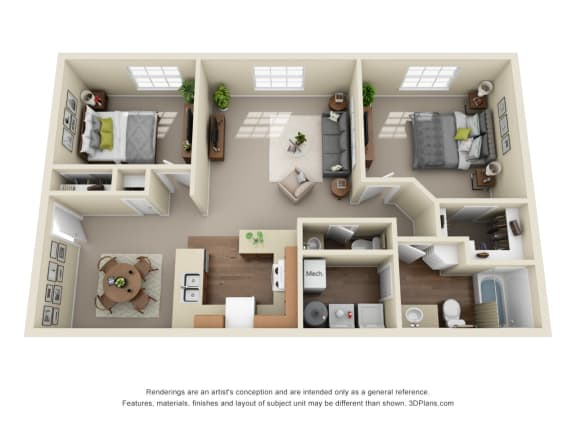 Floor Plan  2 Bed 1.5 Bath Classic