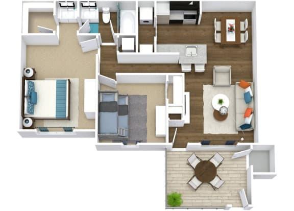Floor Plan  2 Bedroom 1 Bathroom Floor Plan, opens a dialog.