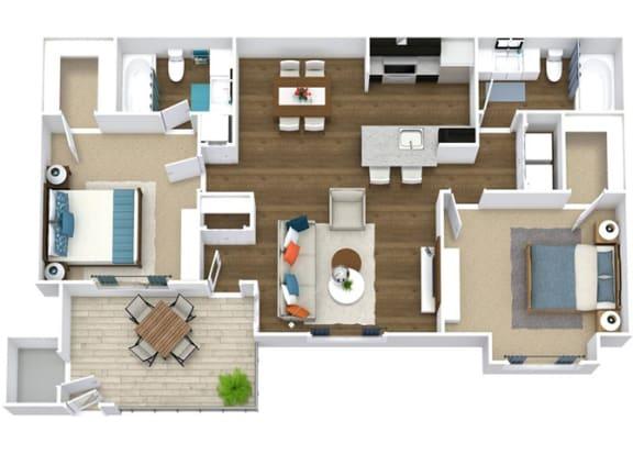 Floor Plan  2 Bedroom 2 Bathroom Floor Plan, opens a dialog.