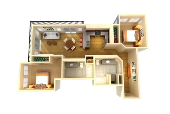 Floor Plan  Two Bed Two Bath C