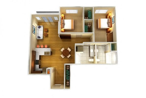 Floor Plan  Two Bed Two Bath D