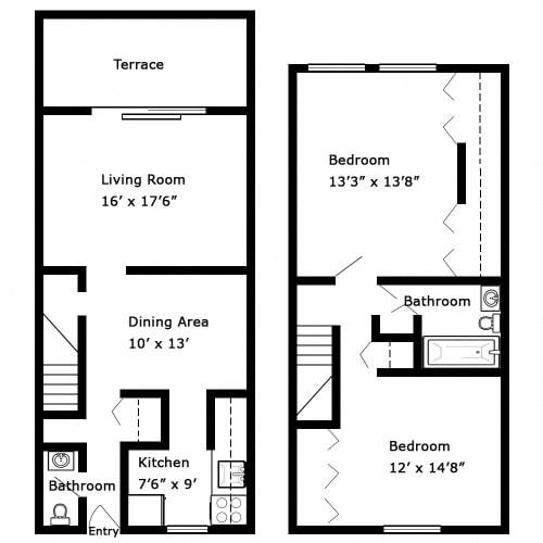 Floor Plan  2 Bedroom - 2 Story