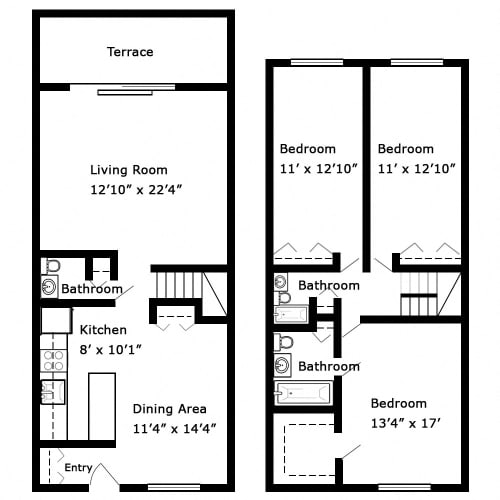 Floor Plan  3 Bedroom - 2 Story