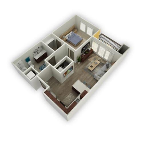 Floor Plan  Slate - 1 Bedroom