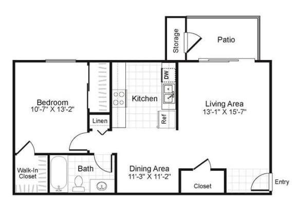 Floor Plan  1 bedroom 1 bathroom floor plan, opens a dialog.