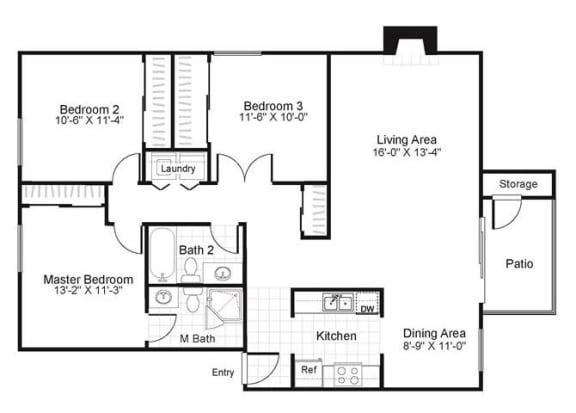 Floor Plan  3 bedroom 2 bathroom floor plan, opens a dialog.
