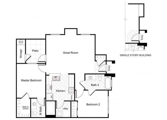 Floor Plan  2 Bedroom 2 Bathroom Floor Plan