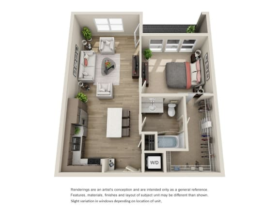 Floor Plan  1x1 units available at BDX at Capital Village in Rancho Cordova, CA