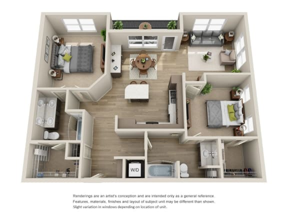 Floor Plan  2x2 units available at BDX at Capital Village in Rancho Cordova, CA
