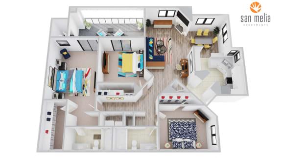 Floor Plan  San Melia Apartments Coral Bay Premier Floor Plan