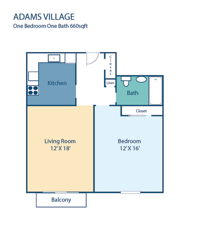 Floor Plan  One Bedroom Apartment at Adams Village in Dorchester, MA