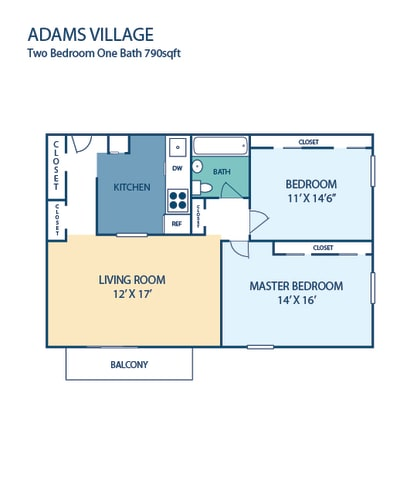 Floor Plan  Two Bedroom Apartment Adams Village in Dorchester, MA