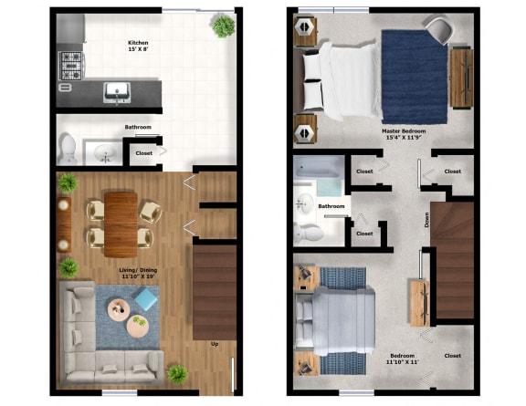 Floor Plan  2Bed Townhouse