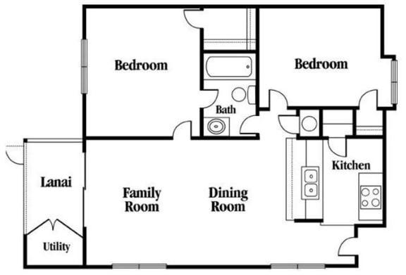 Floor Plan  2 Bedroom 1 Bathroom Floor Plan
