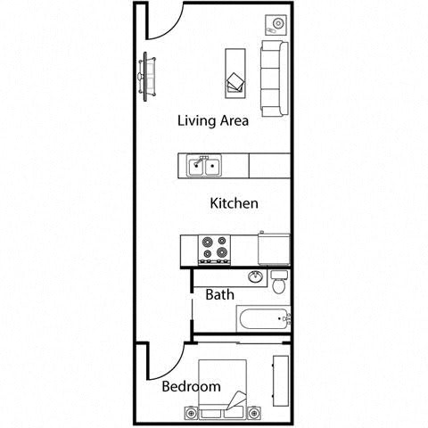 Floor Plan  1 bedroom 1 bathroom at Monroe Street Abbey in Phoenix, AZ
