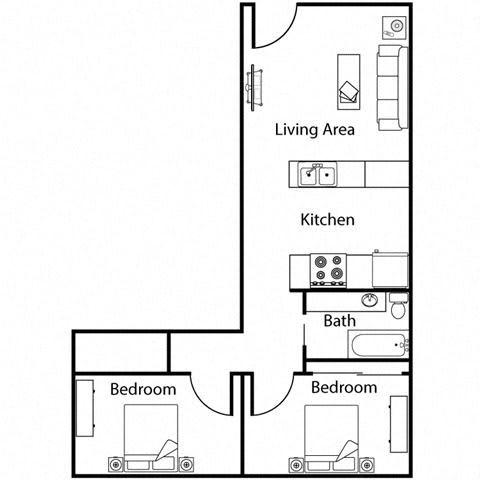 Floor Plan  2 bedroom 1 bathroom at Monroe Street Abbey in Phoenix, AZ