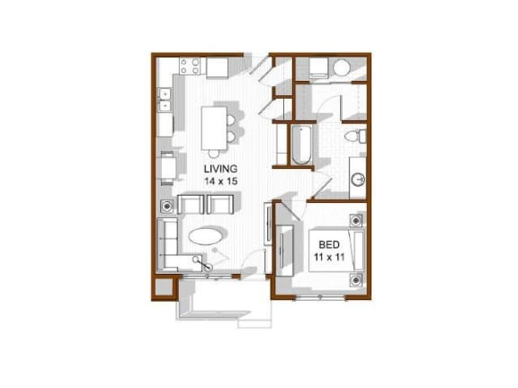 Floor Plan  North Main at Steel Ranch l One bedroom Apartments in Louisville CO