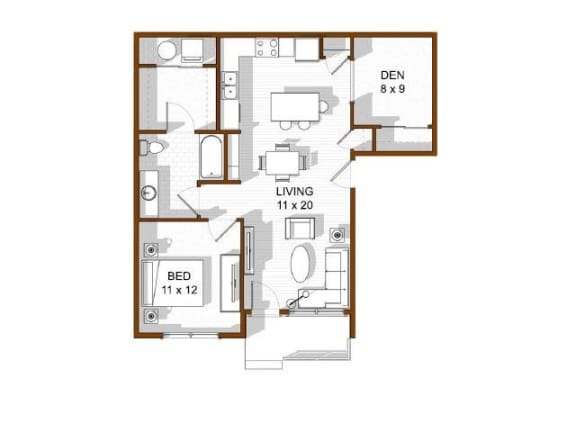 Floor Plan  One Bedroom Rentals North Main at Steel Ranch l Apartments in Louisville CO