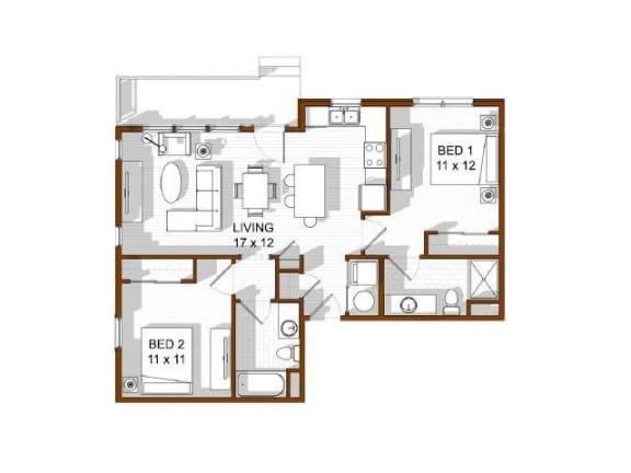 Floor Plan  North Main at Steel Ranch l 2 bedroom Apartments for rent in Louisville CO