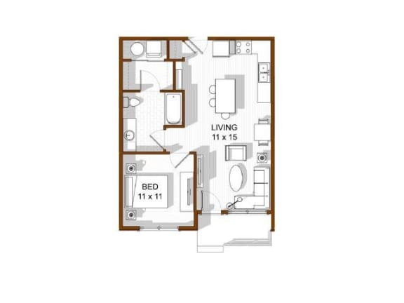 Floor Plan  North Main at Steel Ranch l  1x1 Apartments for rent in Louisville CO
