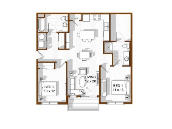 Floor Plan  North Main at Steel Ranch l 2x2 Apartments in Louisville CO