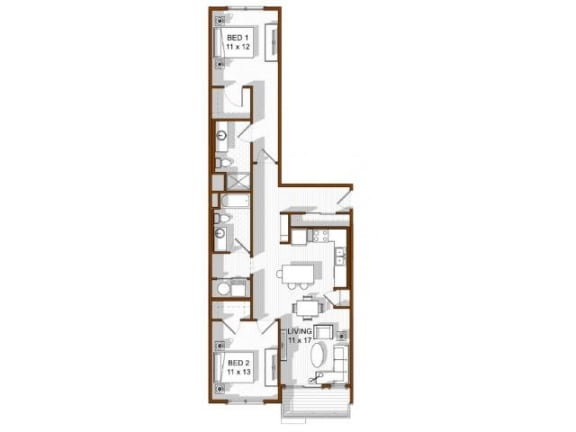 Floor Plan  2 Bedroom North Main at Steel Ranch l Apartments in Louisville CO