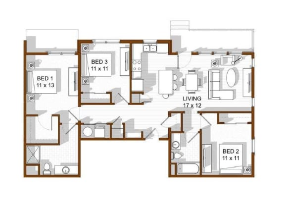 Floor Plan  North Main at Steel Ranch l 3 bedroom Apartments in Louisville CO