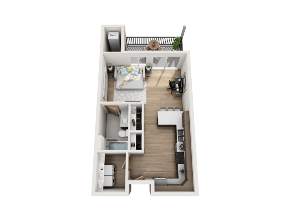 Floor Plan  0 Bed   1 Bath (Studio)