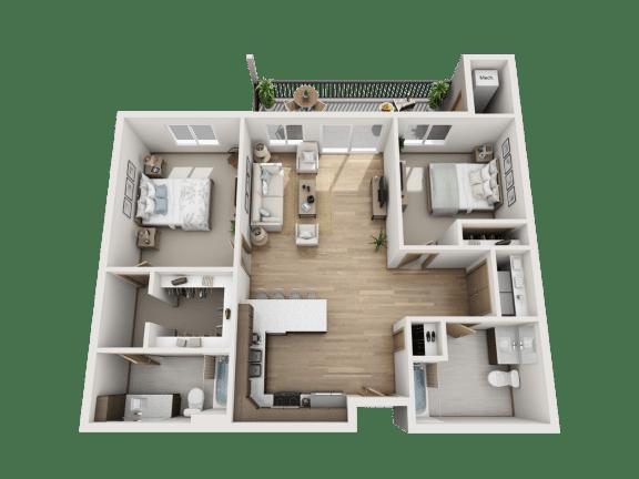 Floor Plan  2 Bed   2 Bath ADA (C1)