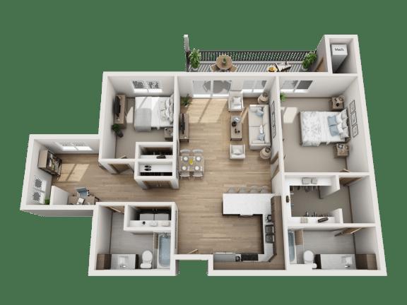 Floor Plan  2 Bed   2 Bath + Den (D)