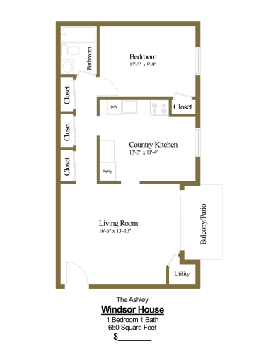 Floor Plan  1 bedroom, 1 bathroom apartment at Windsor House Apartments in Middle River, MD