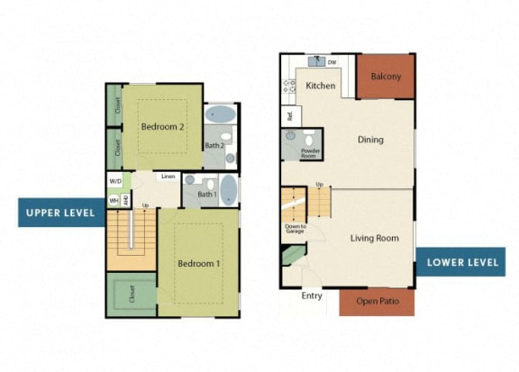 Floor Plan  Two Bedroom Apartments in Roseville, CA l Adora Apartments