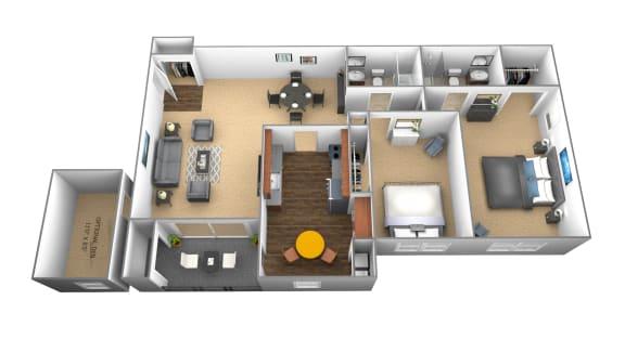 Floor Plan  2 bedroom 2 bathroom floor plan at Ivy Hall Apartments in Towson MD