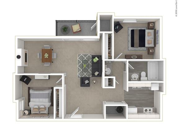 Floor Plan  Clover Creek - Floor Plan - 2Bedroom