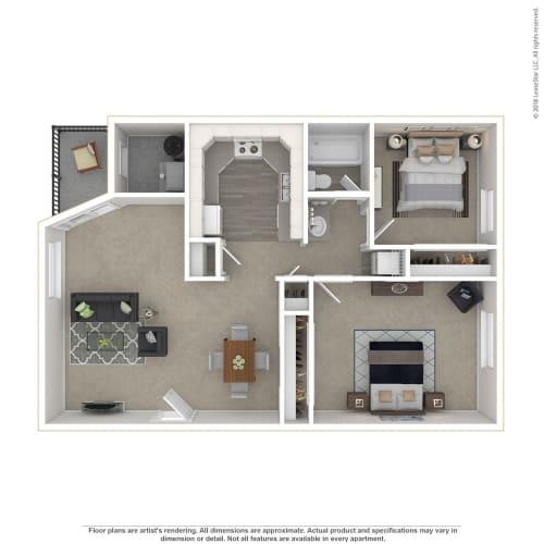 Floor Plan  Clover Creek 2Bed Floor Plan