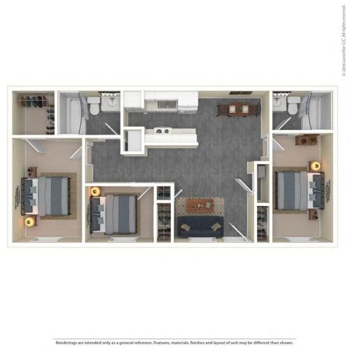 Floor Plan  The Grove Apartments Floor Plan Model3A