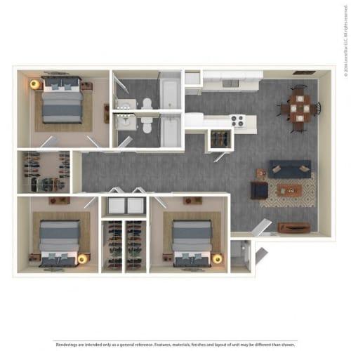 Floor Plan  The Grove Apartments Floor Plan Model3B