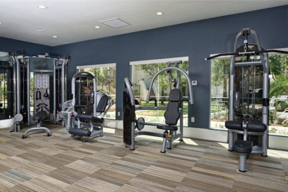 Weight machines in gym at Legends at Rancho Belago, Moreno Valley, 92553