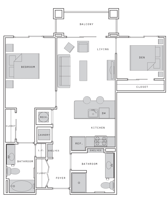 West- B1 Two Bed 876 Sqft Floor Plan at Union Heights, Washington